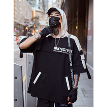 UNCLEDONJM Streetwear Hip hop Multi-pocket Hoodies Loose Fit Short Sleeve Hooded Colour Block Sweatshirts Harajuku 283S