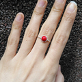 "Natural Taiwan Cinnabar Ring 925 Sterling Silver Chinese Jewelry Natural Stone Jade Aventurine 6mm Gem Stone Ring "" GRB Ring """