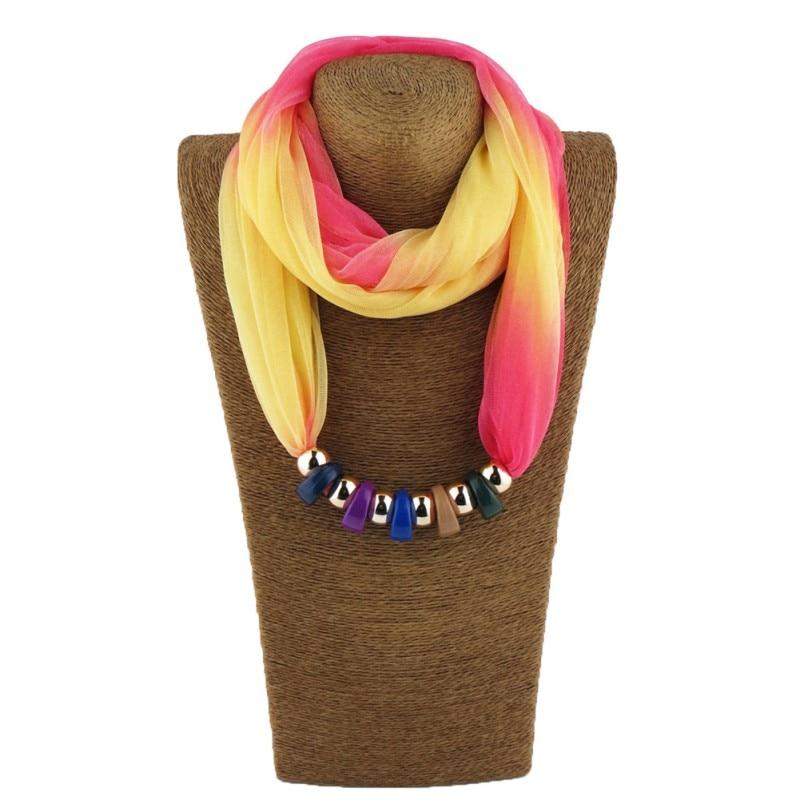 Women Autumn Winter Silk Scarf Necklace Resin beads Neckerchief Scarves Female Printed Silk Muffler Designer Scarfs Wraps 2017
