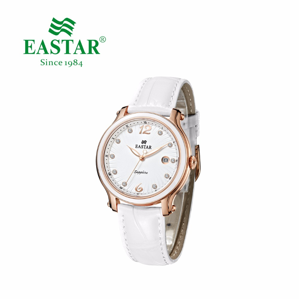 Eastar Elegant Women Rhinestone Watch Fashion White Strap Ladies Dress Quartz Wristwatch luxury diamond Gold Silver Case Clock duoya fashion luxury women gold watches casual bracelet wristwatch fabric rhinestone strap quartz ladies wrist watch clock