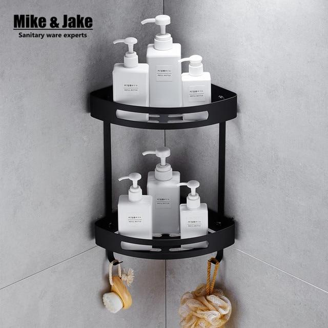 Stainless steel 304 Black bathroom corner shelf shower room rack for ...