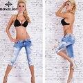 Cintura baixa Jeans Cor Azul Novo Para As Mulheres Na Altura Do Joelho-comprimento de Algodão Denim Jeans Primavera Fino Com Laço das Mulheres calças