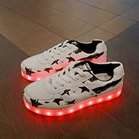 White Children Shoes 7 Colorful With USB Rechargeable Girls Night Light Shoes PU Print Girls LED Shoe Fashion Youth Sneakers