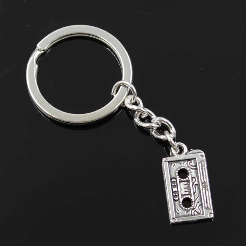 new fashion men 30mm keychain DIY metal holder chain vintage retro 80's cassette tape 23x12mm silver pendant Gift