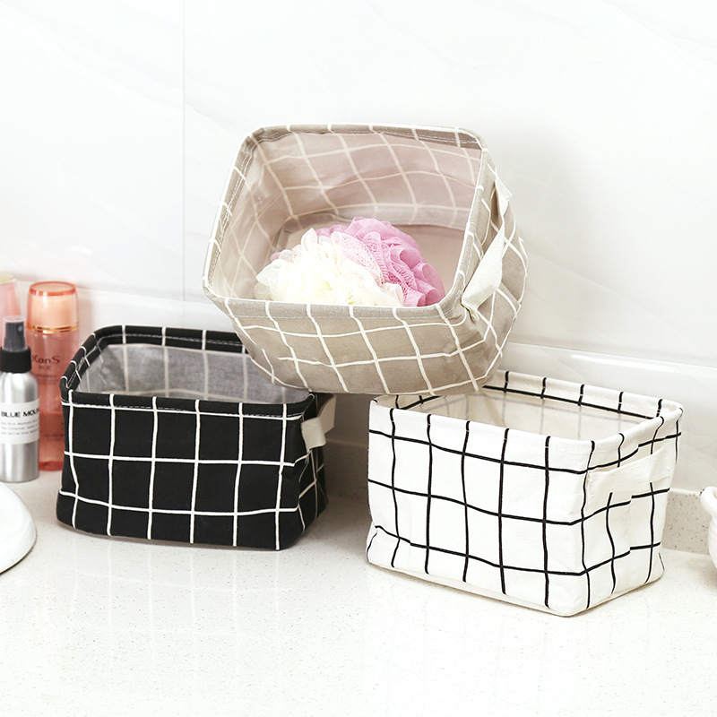 Small fresh cotton and linen handmade debris basket cabinet desk storage box cloth storage basket