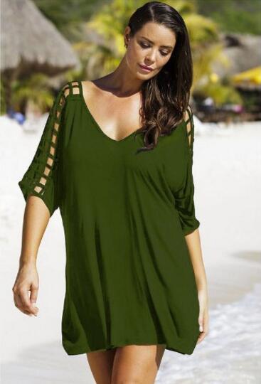 Dámské letní móda volný čas volné dutiny Vintage Beach pletení bavlněné motýl poloviční rukáv plus velikosti mini šaty vestidos