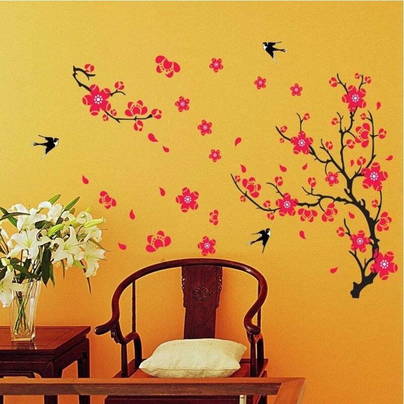 Pink Sakura Flower Cherry Blossom Birds Tree Living Room Wall ...