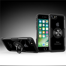 For Cover/case Iphone 8 Car Holder Magnetic Case Cover Finger Ring Phone Cases Transparent Carbon