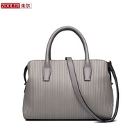 Top Quality ZOOLER Luxury Woman Bag Genuine Leather Bag Stripe Pattern Fashionl Tote Top Handle Shoulder