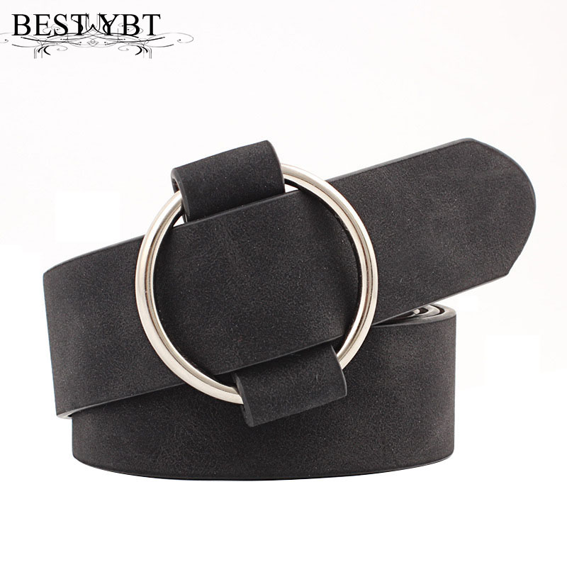 Best YBT Women leather belt Newest Round buckle belts female leisure jeans wild without pin metal buckle Women strap belt(China)