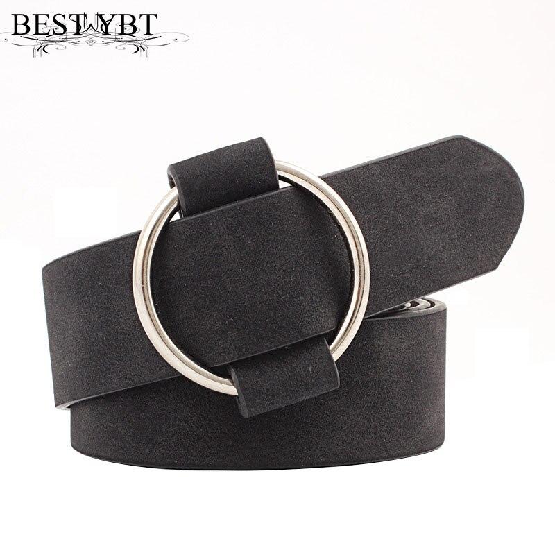 Best YBT Women leather belt Newest Round buckle belts female leisure jeans wild without pin metal buckle Women strap belt