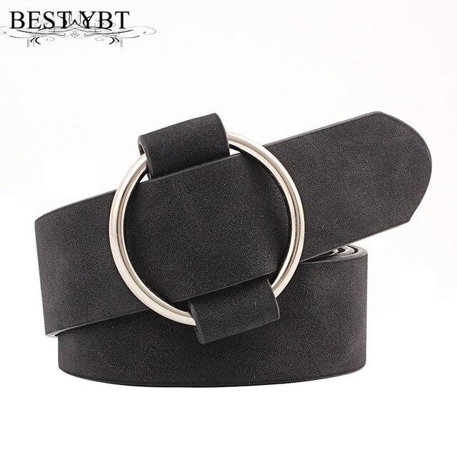 הטוב ביותר YBT נשים עור חגורת החדש עגול אבזם חגורות נקבה פנאי ג 'ינס wild ללא פין מתכת אבזם נשים רצועת החגורה