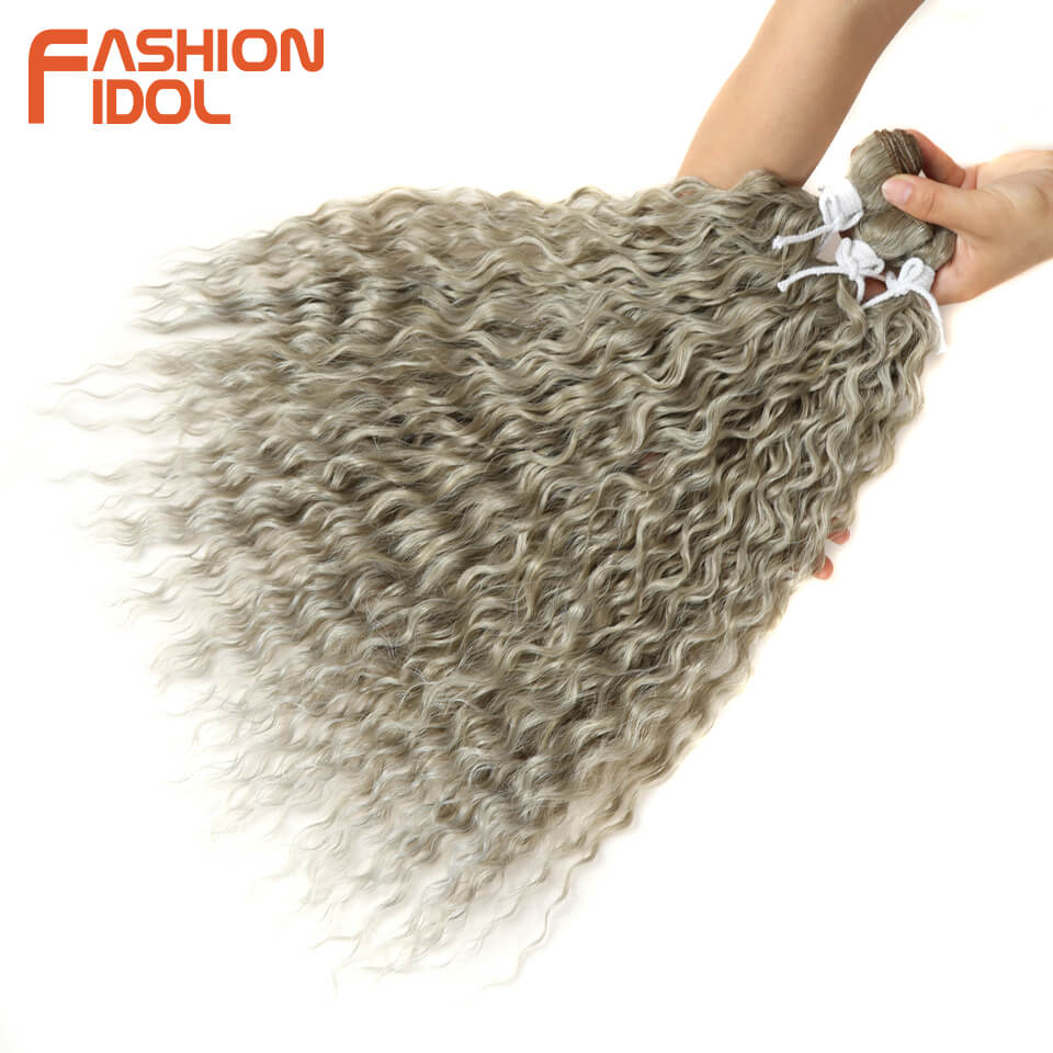 FASHION IDOL Natural Curly Wave Hair Heat Resistant Silver Grey Synthetic Hair 3Pcs/Lot 16-20 Inch Weave Hair Bundles Extensions(China)
