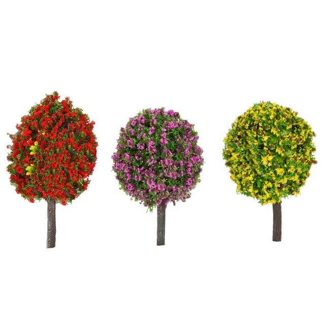 30Pcs/Lot Ball-shaped Flower Model Trees Mixed Tree Model Landscape Trees Train Layout Garden Scenery Miniature 1:100 Scale