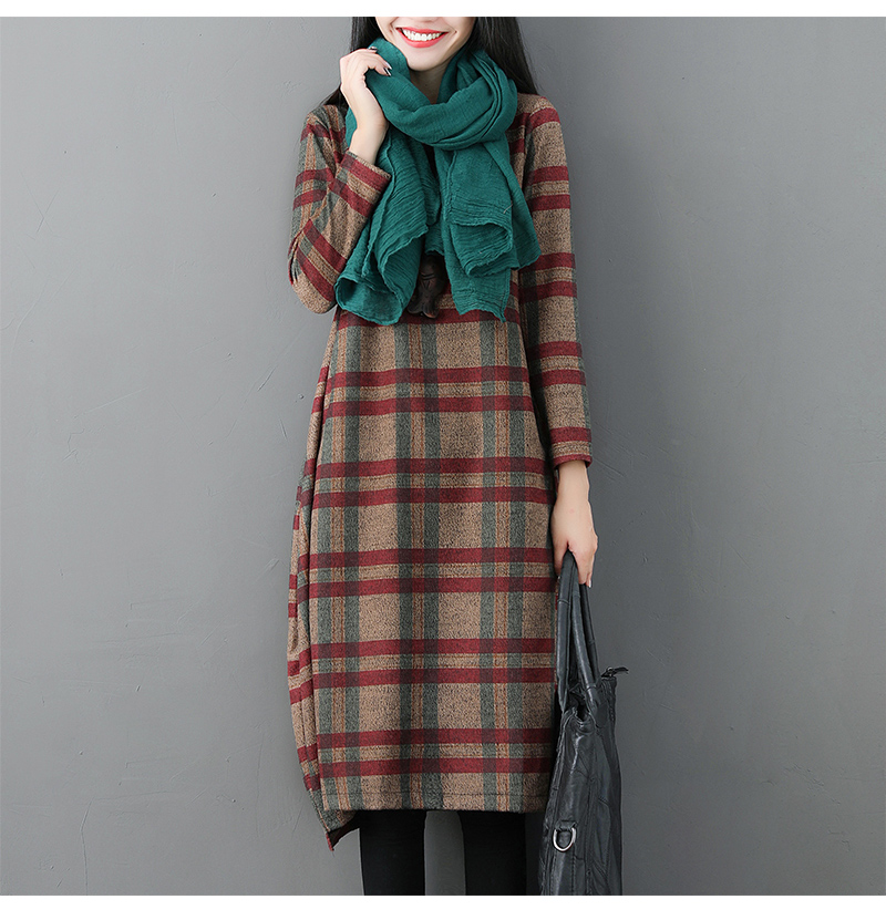 Vintage Wool Piaid Jumper Dress Women Oversized O-Neck Long Sleeve Fall Winter Retro Checkered Loose Thicken Tunic Dresses