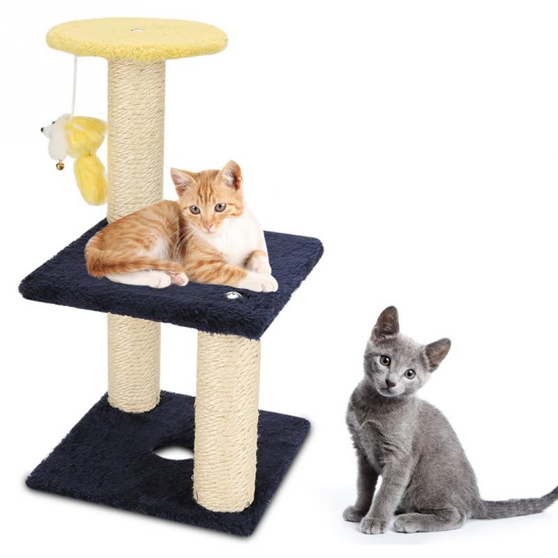 3-layer Cat Climbing Tree Scratching Post Board And Hanging Toy Home Pet Activity Center Soft Plush Providing Comfort For Cats
