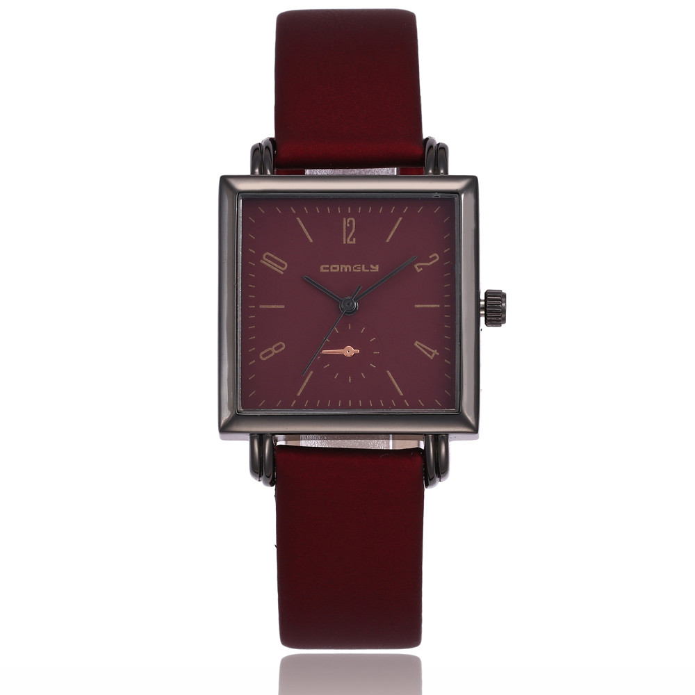 2018 women's watches Fashion Leather Band Analog Quartz Square Wrist Watch Watches relogio feminino saat Watches for women O26 3