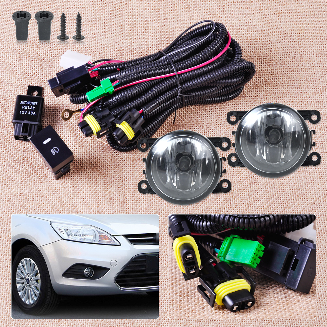 Citall Wiring Harness Sockets Switch 2 H11 Fog Lights Lamp 4f9z Show Photo