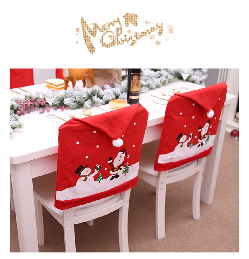 Santa Claus Christmas Chairs Cover Cap Non-woven Dinner Table