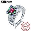 Jqueen 5.73ct rubí esmeralda zafiro 925 anillos de bodas de plata para las mujeres de la joyería de lujo femenina s925 plata al por mayor