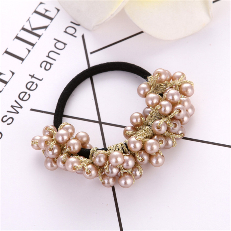 Fashion Pearls Bead Elastic Rubber Hair Bands Elegant Headwear Women Girl Hair Rope Scrunchy Ponytail Jewelry Hair Accessories Style 1 Champagne