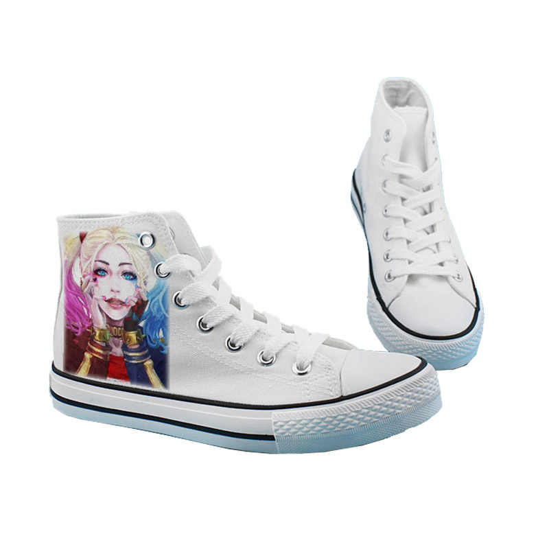 """Cosworld с принтами """"отряд самоубийц"""", """"парусиновая обувь Для женщин Повседневное обувь с высоким берцем на плоской подошве shoesprinting обувь Харли Квинн, Джокер Обувь для отдыха"""