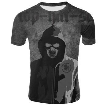 2019 casual tops tee harajuku summer t-shirts hip hop graphic 3D print skull short sleeve t shirt men funny t-shirt 1