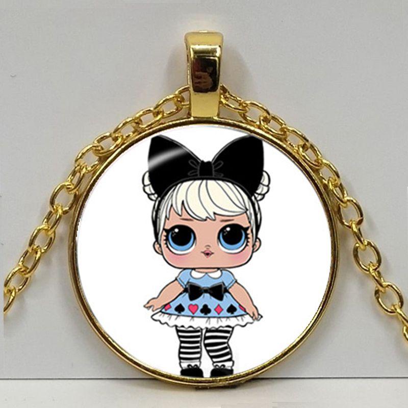 Мультяшное ожерелье с изображением куклы милое детское блестящее платье принцессы куклы стеклянные ожерелья аниме для детей подарок на день рождения - Окраска металла: Gold 3