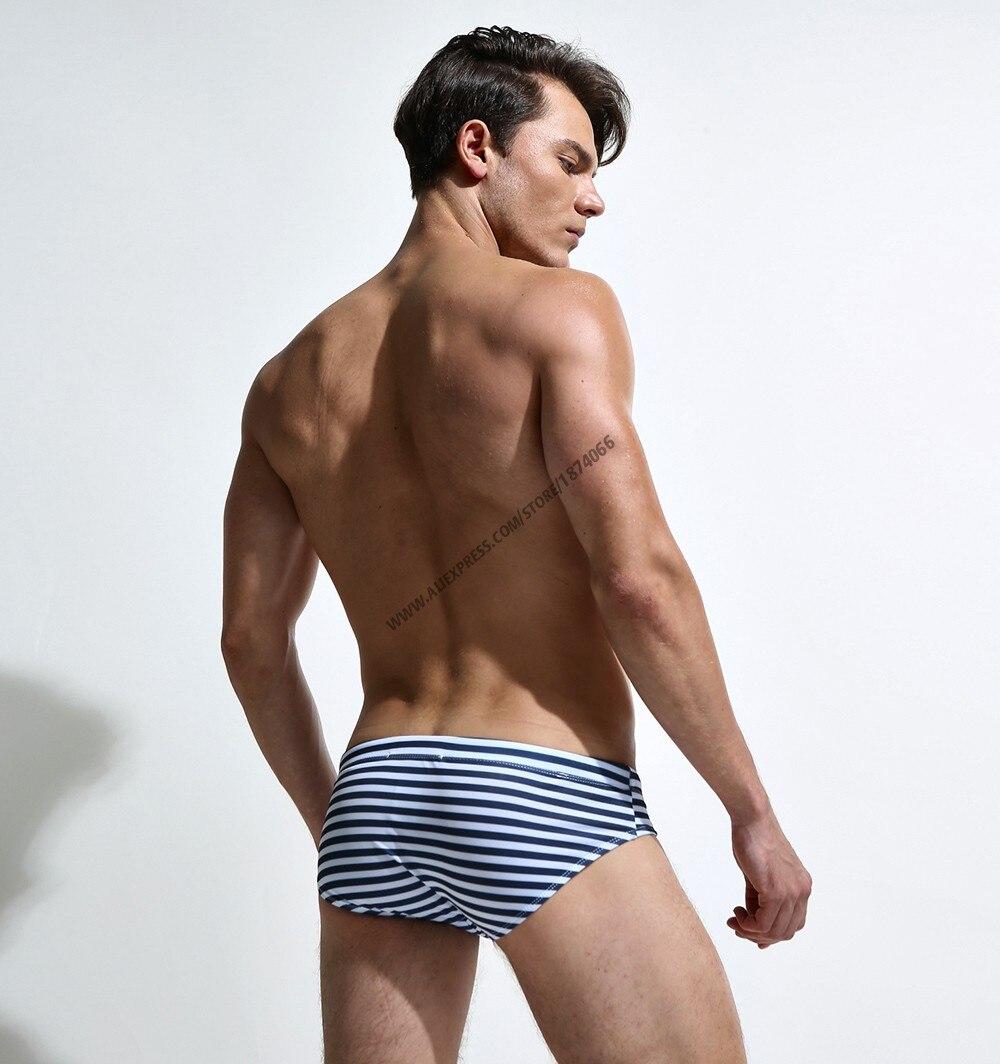 Новая летняя мужская одежда для плавания, спортивные мужские плавки, плавки с низкой посадкой, мужской купальник в полоску, мужской купальн... 19