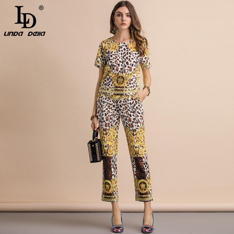 LD LINDA DELLA Leopard Printed Two Pieces Set 201194201028