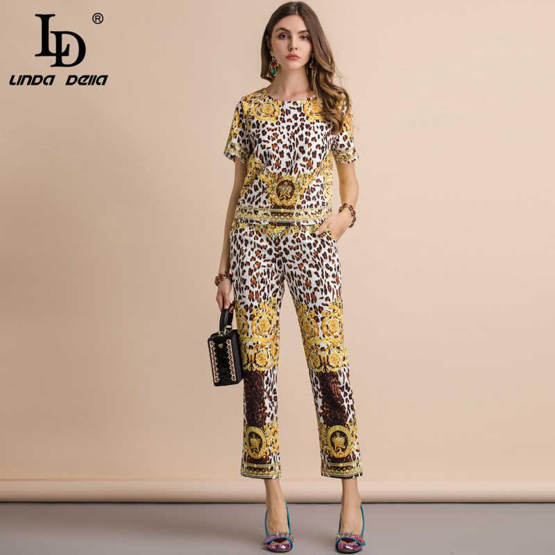 LD LINDA DELLA Новая мода для подиума летние комплекты Кристалл Бисер с леопардовым принтом Футболка + узкие прямые длинные штаны Двойка комплект