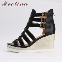 Meotina Gladiator Shoes 2018 Women Shoes Platform Wedges High Heel Sandals Rome Ladies Wedge Heels Zip Black White Plus Size 10