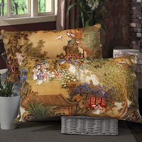 Chinese Style Classical Rectangle Cushion Pillow Ofhead Bag Set Soft Decoration Pillow Cover