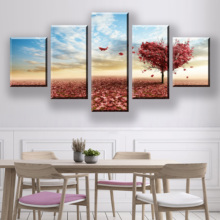 5 Pieces HD Print Painting Modern Wall Art Love Tree Sky Landscape Canvas For Home Decor Pictures Framework Decoration