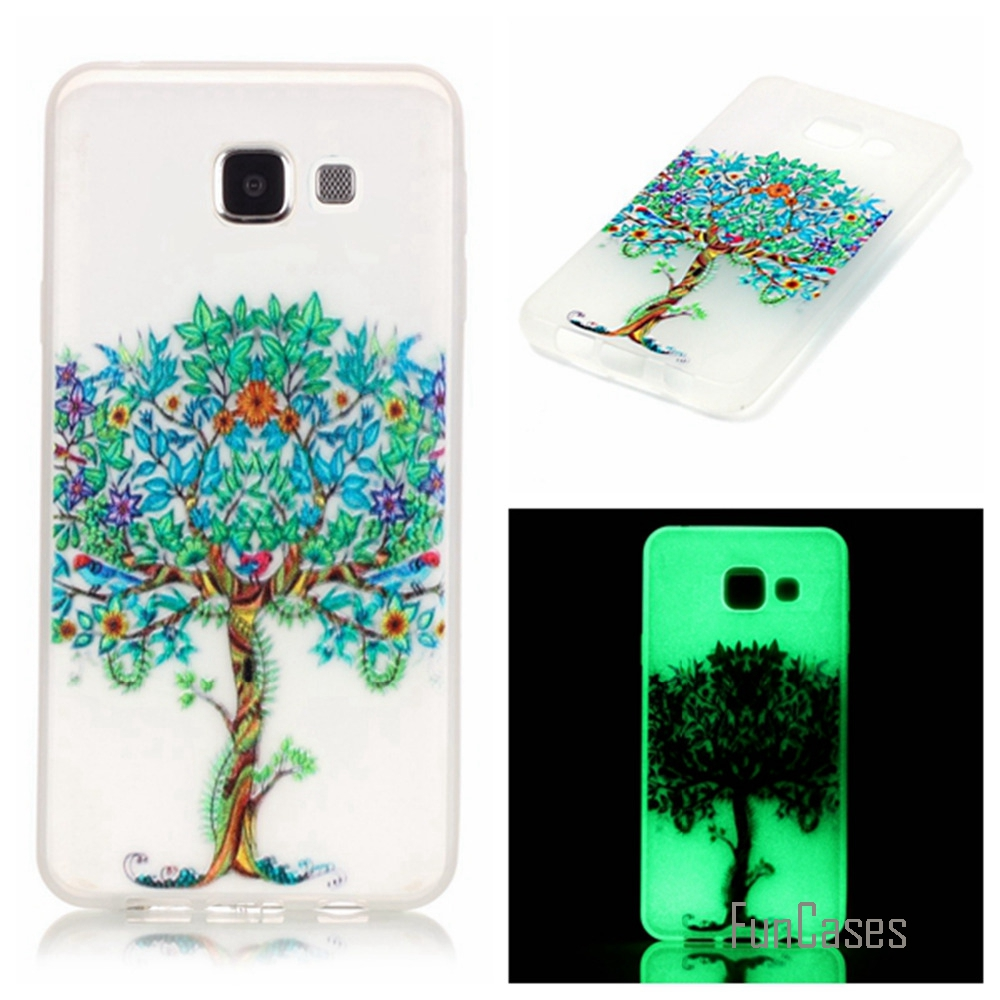 New Fashion Luminous night Slim phone Cases for Samsung Galaxy A3 2016 A310 A310F Fluorescence Soft TPU Silicon back cover skin