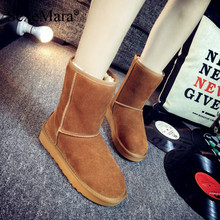 SexeMara Brand 2016 Women Snow Boots Genuine Leather Cowhide Cow Muscle Winter Warm Round Toe Anti-slide Slip on Mid-Calf Shoes