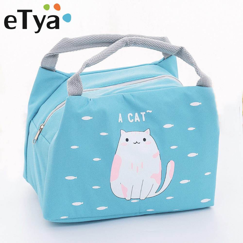 eTya New Insulation Oxford Lunch Bag Waterproof Thermal Food Storage Cooler Picnic Bag Cute Cartoon Cat Tote Lunch Box Handbag
