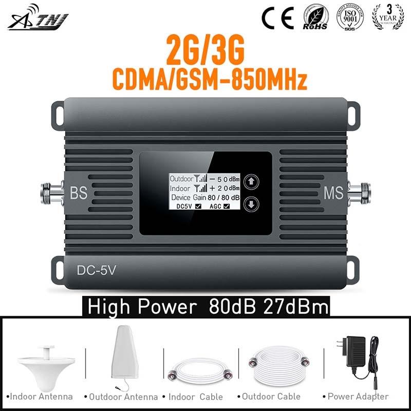 Neues Produkt! 80dBi Gain 2G 3G 850 MHz Booster zellularer Signalverstärker Repeater komplett mit LCD eingestellt