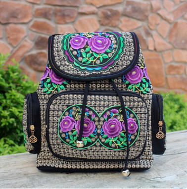 New Fashion Embroidery Shopping backpacks!Hot All-Match Handmade Embroidered canvas ladies Backrack Top travel String backpacks