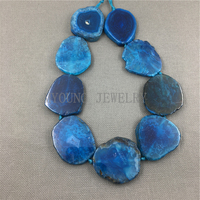 MY1101 Freeform Dark Blue dragon vein agates Slab Slice Loose Beads,Cut Slab Sliced Achate Beads For Jewelry Making 15.5 strand