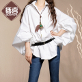 Free Shipping 2016 New Fashion Boshow Spring And Autumn White 100% Cotton Lantern Sleeve Long-sleeve Casual Shirt Blouses