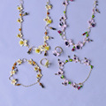 Francês Les Nereides Esmalte Flores Pérola Colar Pulseira Conjuntos de Jóias Para As Mulheres De Luxo Partido Jóias