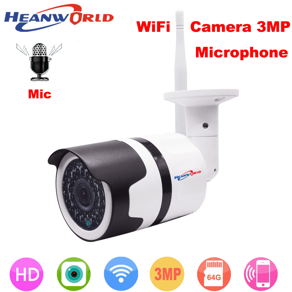 HD WiFI Camera outdoor 3MP with microphone IP camera sd slot home security camera wireless waterproof surveillance cctv camera c7815wip wifi ip outdoor waterproof camera 1 0mp megapixel hd cctv wireless bullet surveillance security sysytem home ptz camera