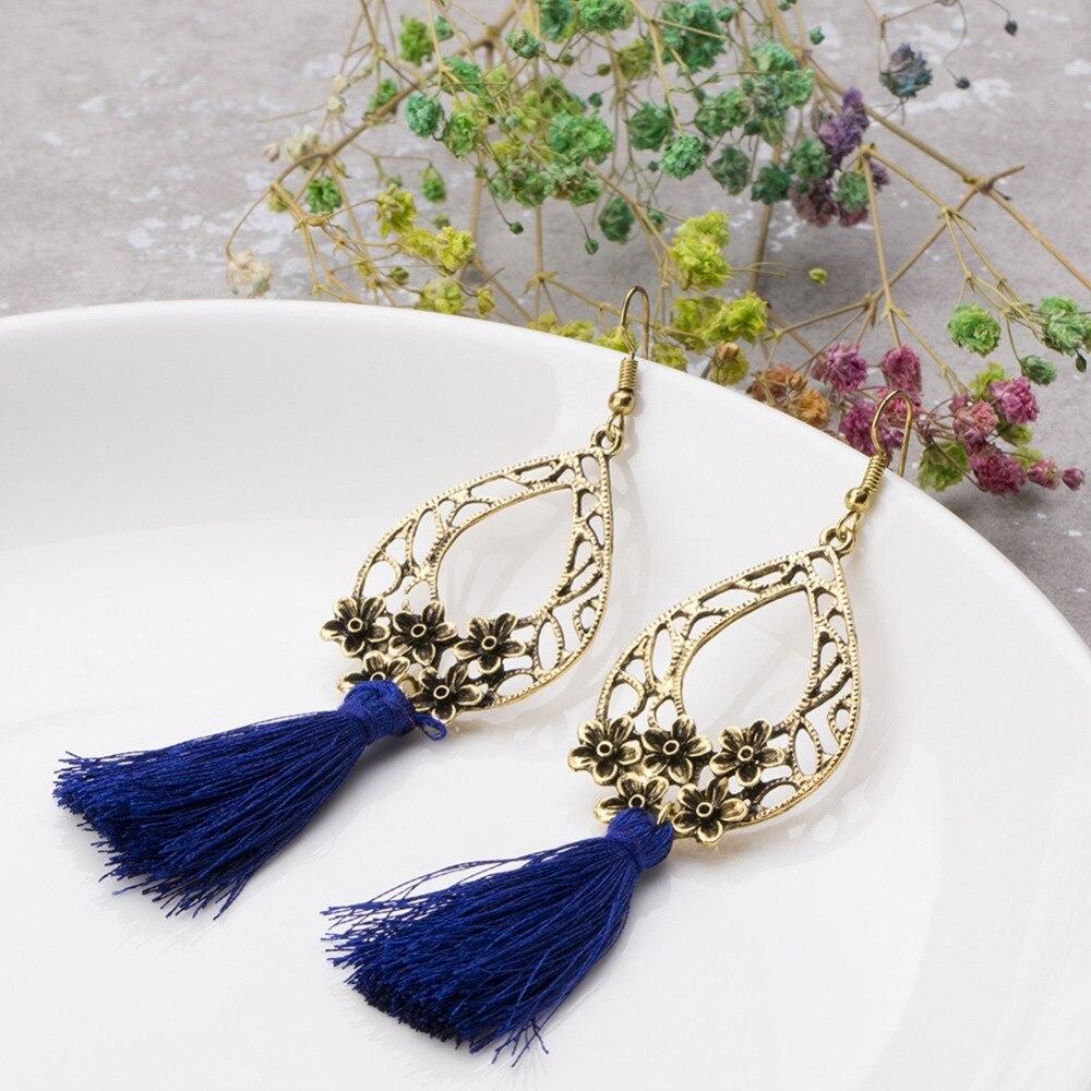 1 Pair Bohemian Style Drop Hook Earrings For Women Hollow Flower Long Tassel Dangle Earrings Handmade Jewelry Gift