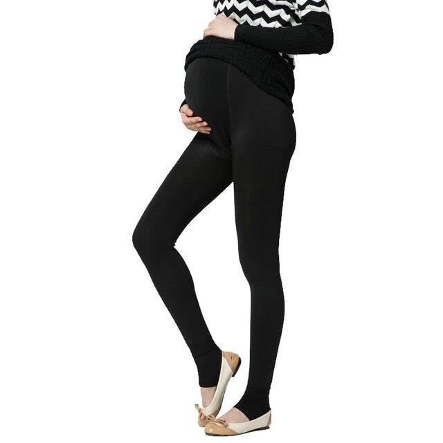 6c147c3cc Además de terciopelo engrosamiento invierno maternidad Leggings pantalones  ropa para mujeres embarazadas caliente alta cintura Suspender