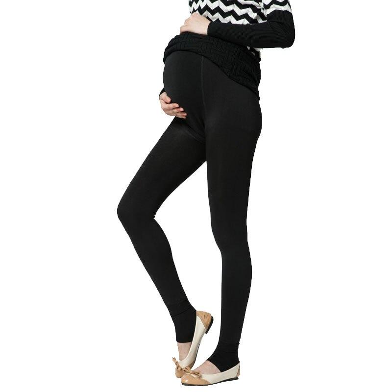 plus invierno de terciopelo de maternidad leggings pantalones ropa para mujeres embarazadas caliente cintura alta