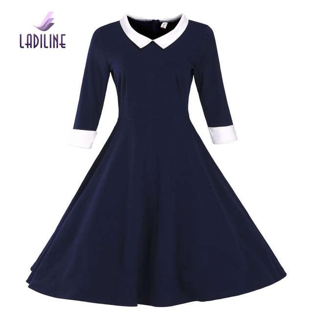 LADILINE 50S 60S 70S 80S Winter Dress High Quality Zip Fashion Dress Women  Dresses Plus Size Pure Colour Vintage Dress YHTD21