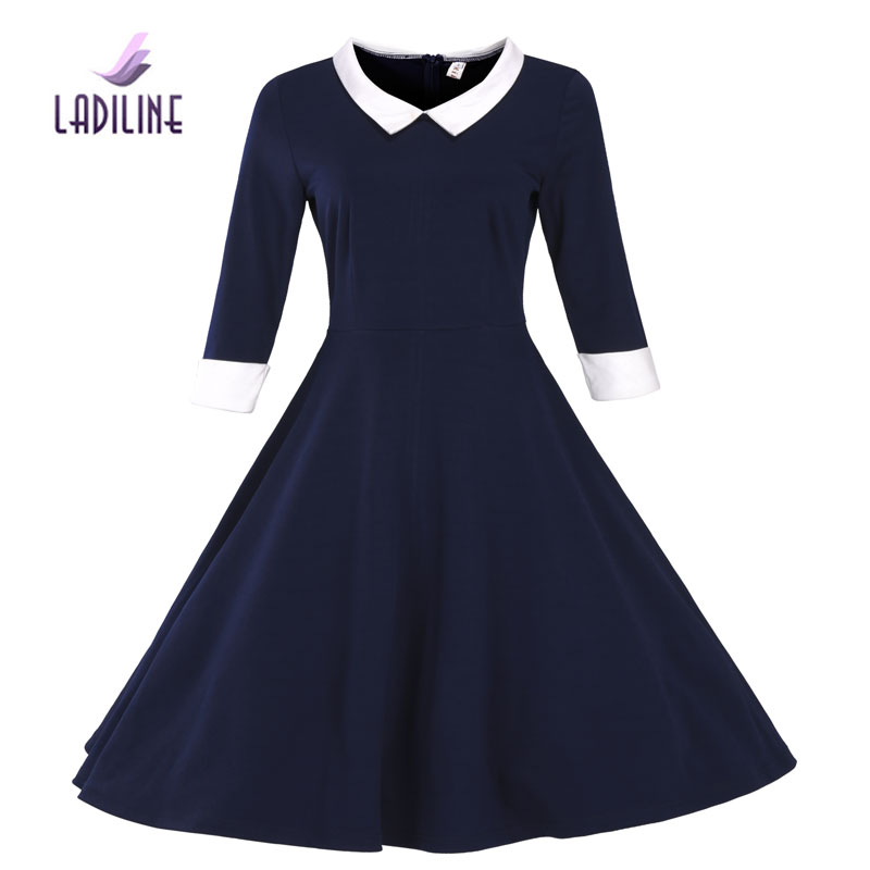 39d7645743e6a Ladiline 50 s 60 s 70 s 80 s de invierno dress alta calidad zip fashion  dress mujeres vestidos tallas grandes color puro vintage dress YHTD21 en  Vestidos de ...