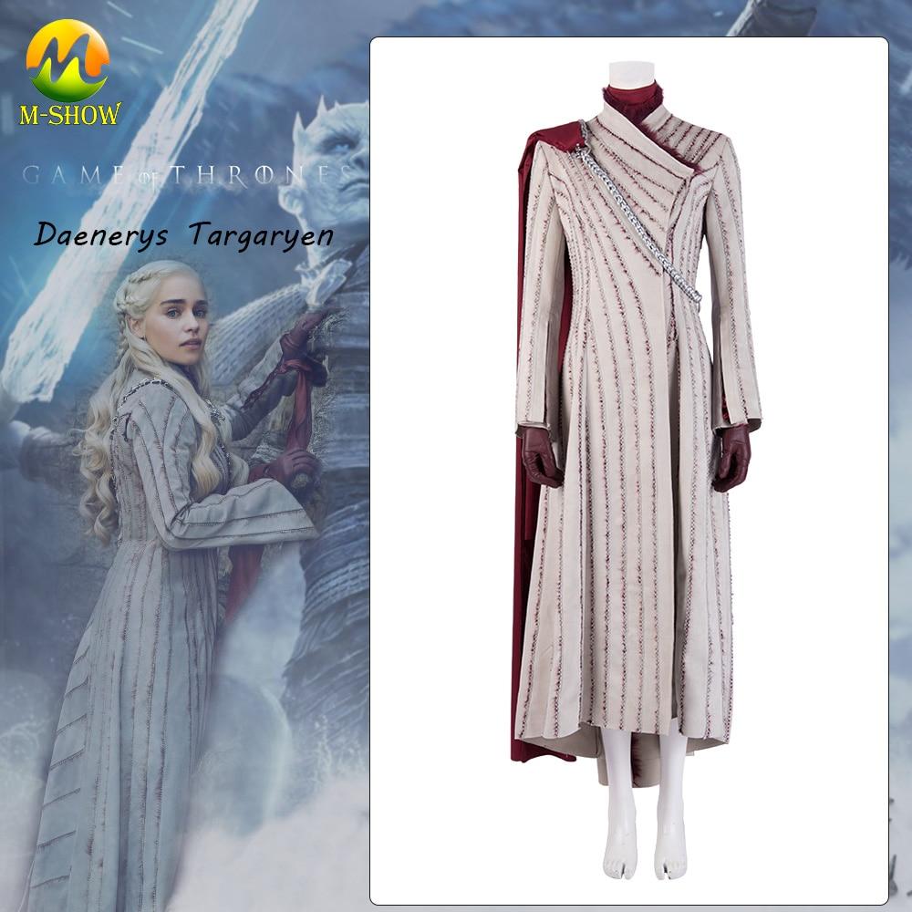 Movie Game Of Thrones Season 7 Daenerys Targaryen Costume White Cosplay Dress  Halloween Costumes  Cosplay Suit  Custom Made