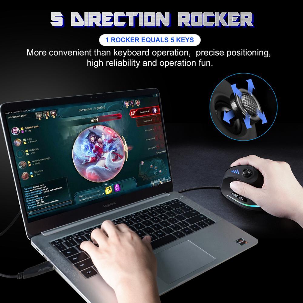Lefon Vertical Gaming Mouse Wired RGB Ergonomic USB Joystick Programmable Laser Gaming Mice 10000 DPI 2019